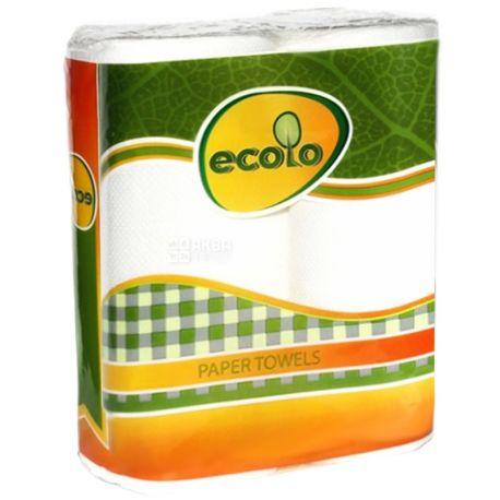 Ecolo, Paper towels, 2 рул., Паперові рушники Еколо, 2-шарові