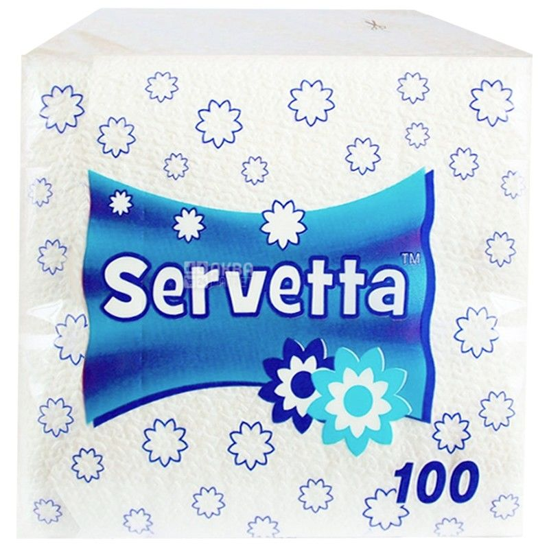 Servetta, 100 шт., 24х24 см, салфетки, Белые, м/у