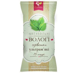 ECORelax, 15 шт., влажные салфетки, Натуральные, С витамином Е, м/у