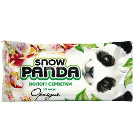 Снежная Панда, 15 шт., влажные салфетки, Орхидея, м/у