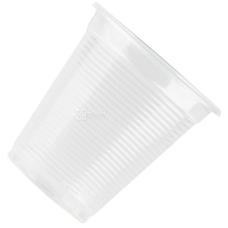 Промтус Стакан пластиковий Прозорий стійкий 200 мл, 100 шт.
