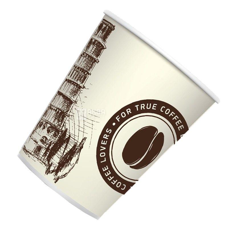 Промтус, 50 шт., 330 мл, стакан бумажный, С рисунком, Пизанская башня, м/у