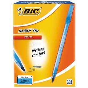 BIC, 60 шт., 0,4 мм, ручка шариковая, Синяя, Round Stic, м/у
