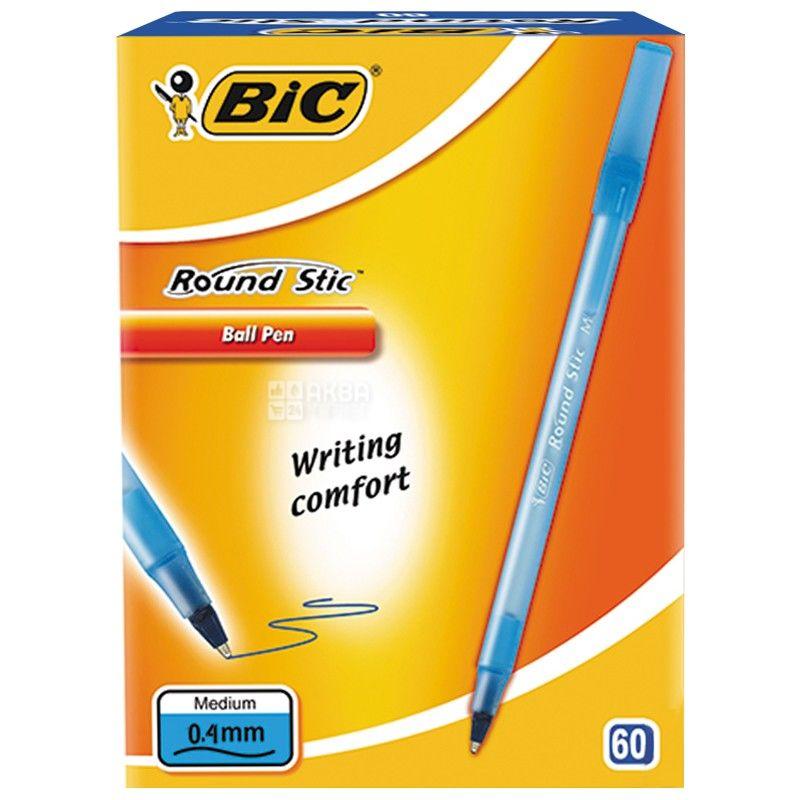 BIC, 60 шт., 0,4 мм, ручка шариковая, Синяя, Round Stic
