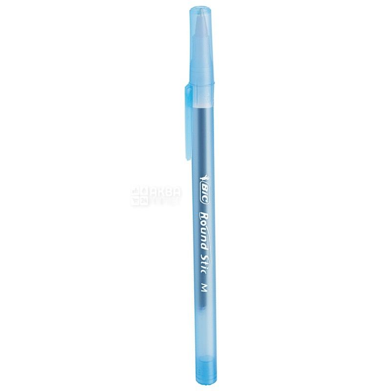 BIC, 6 шт., 0,4 мм, ручка шариковая, Round Stic, Синяя, м/у