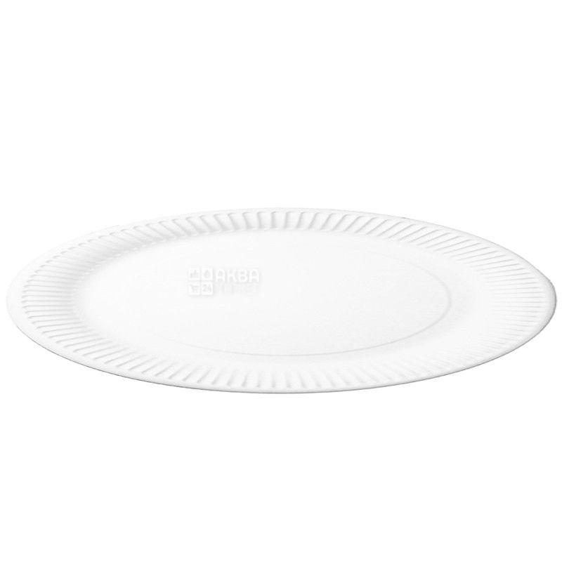 Промтус, тарелка бумажная, 100 шт., 190 мм, Одноразовая, Ламинированная