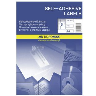 Buromax, 8 pcs. on 100 l., labels, Self-adhesive, m / y