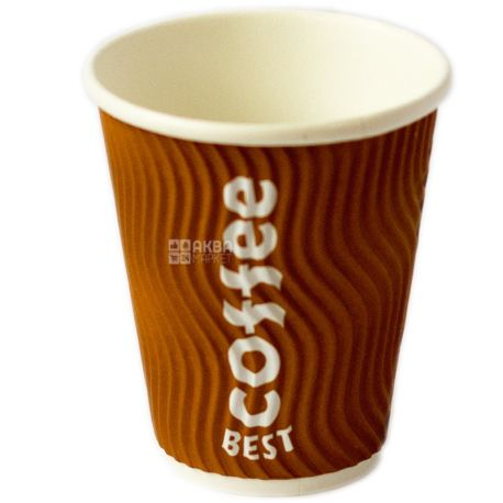 Best Coffee, 25 шт., 330 мл, стакан бумажный, Гофрированный, м/у