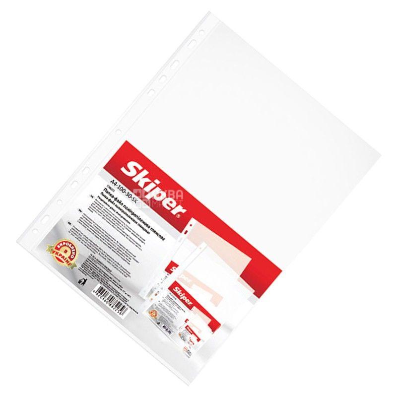 Skiper, Файлы глянцевые, А4, 30 мкм, 100 шт.