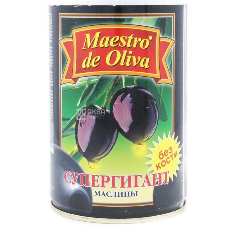 Maestro de Oliva, 425 г, маслины без косточки, Супергигант