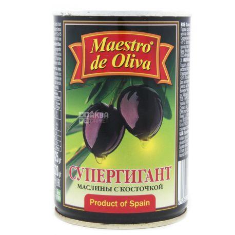 Maestro de Oliva, 425 г, маслины с косточками, Супергигант