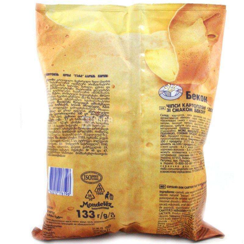 Люкс, 133 г, Чипсы картофельные, Бекон