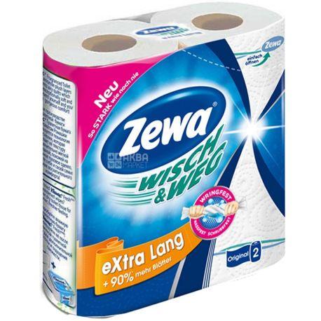 Zewa, Wisch & Weg Classic, 2 рул., Бумажные полотенца Зева,  2-х слойные, 86 отрывов, 19.6 м