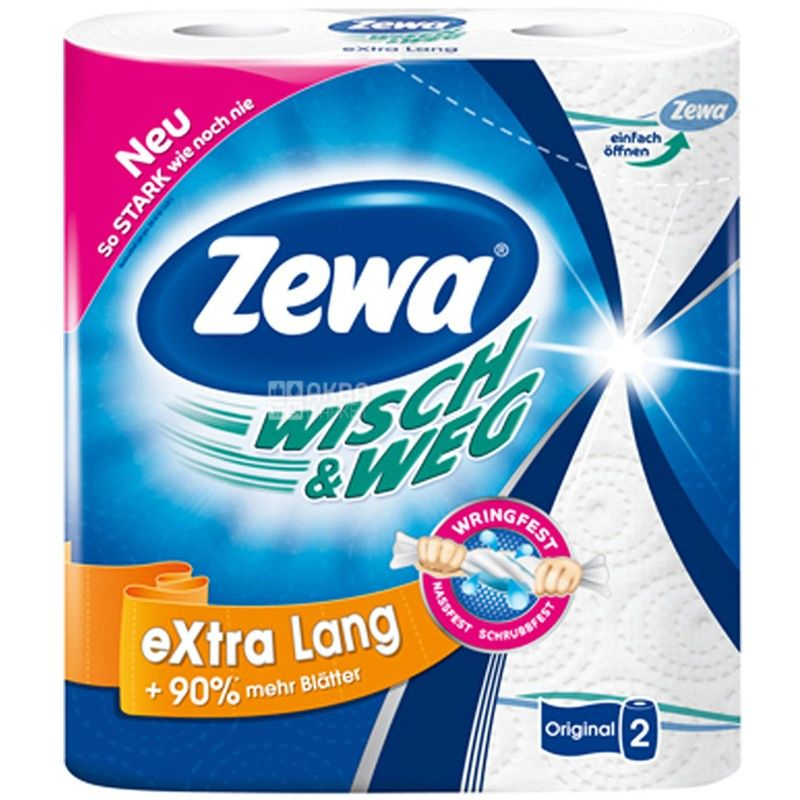 Zewa, Wisch & Weg Classic, 2 рул., Бумажные полотенца Зева,  2-х слойные, 19 м, 86 листов, 23х12 см