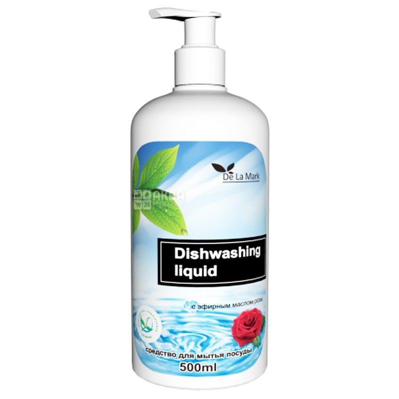De la Mark, 500 мл, средство для мытья посуды, с эфирным маслом розы