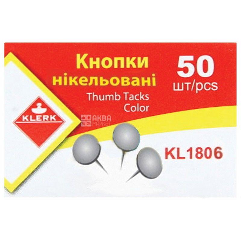 Klerk, 50 шт., кнопки канцелярские, Металлические, м/у