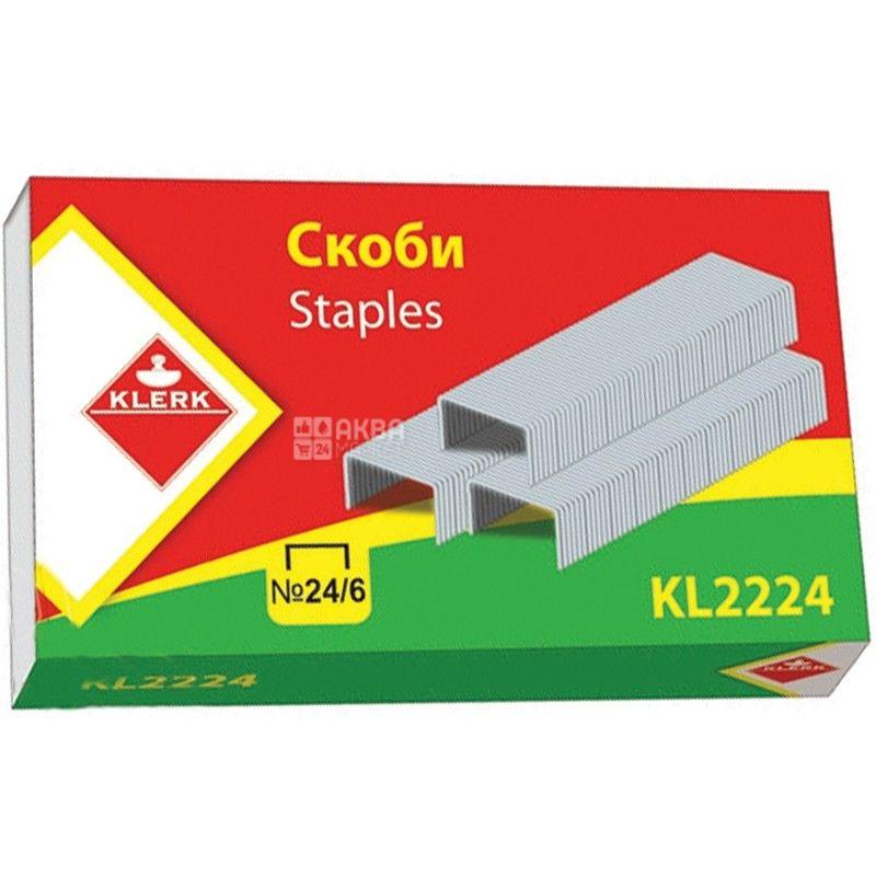 Klerk, 1000 шт., скоби для степлера, № 24/6, м/у