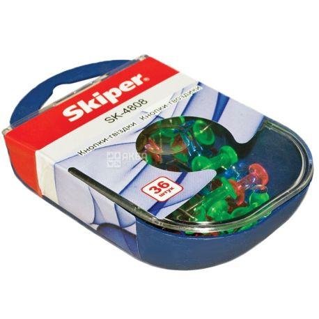 Skiper, 36 шт., 25 мм, кнопки-гвоздики, Цветные, м/у