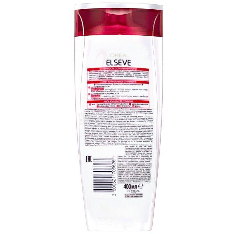 L'Orea Elsevel, 400 мл, Шампунь для ослабленных волос, Полное восстановление 5
