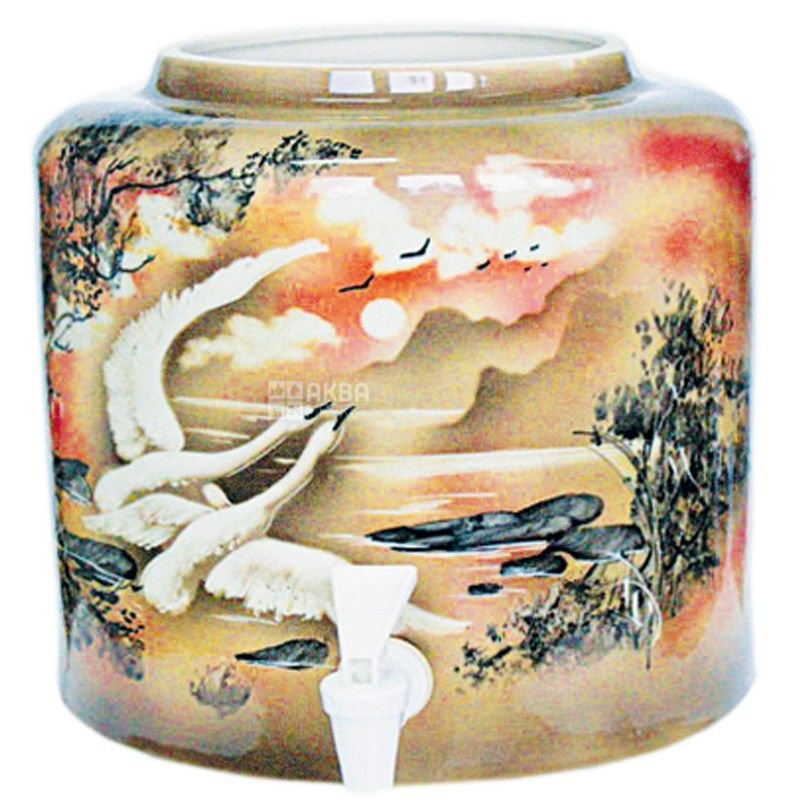 Dispenser, Swans, brown, ceramic