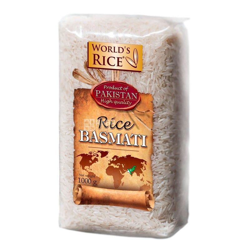 World's Rice, Basmati, 1 кг, Рис Ворлдс Райс, Басмати, длиннозернистый