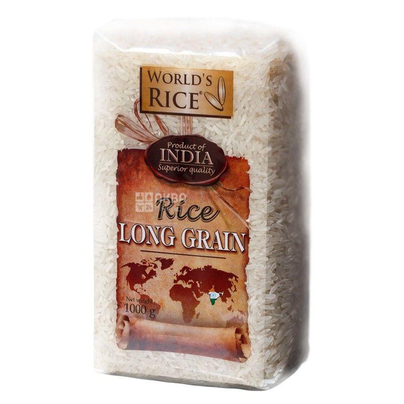 World's Rice, Long Grain,1 кг, Рис Ворлдс Райс, Лонг Грейн, длиннозернистый