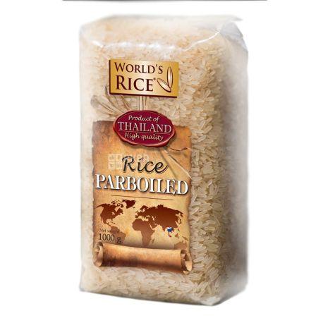 World's Rice, Parboiled, 1 кг, Рис Ворлдc Райс, Парбоілд, пропарений, довгозернистий