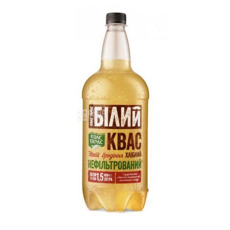 Квас Тарас, 1,5 л, Квас хлібний, білий, нефільтрований, ПЕТ