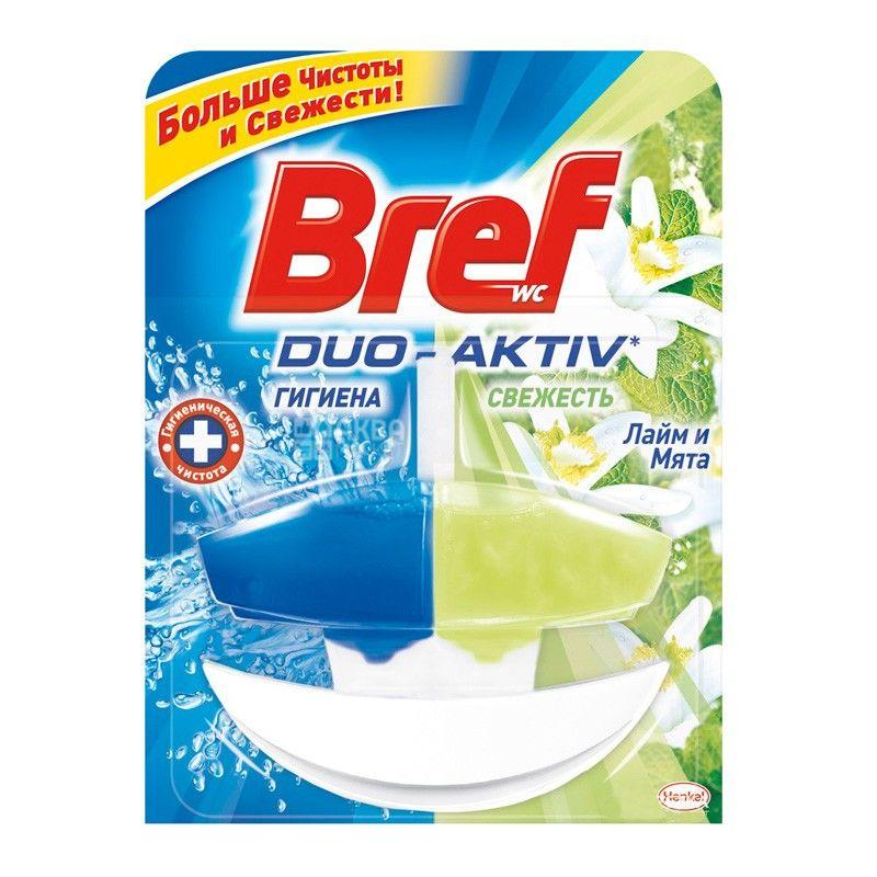 Bref Duo-Aktiv, 50 мл, блок для унитаза, Лайм & Мята, ПЭТ