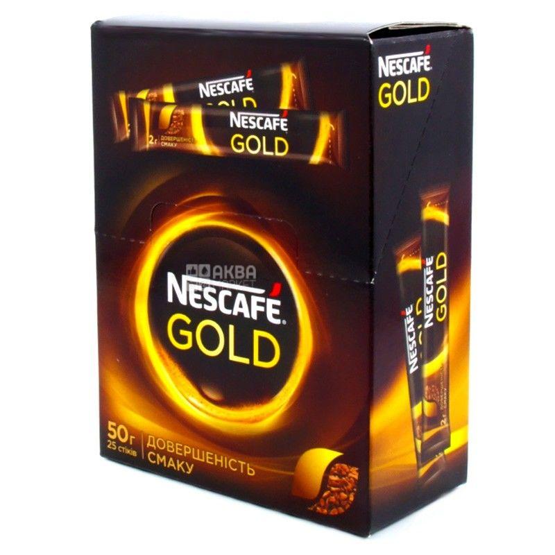 Nescafe Gold, 25 шт. х 5 г, Кава Нескафе Голд, розчинний, в стіках
