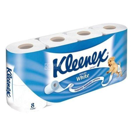 Kleenex Delicate White, 8 рул., Туалетная бумага Клинекс Деликейт Вайт, 2-х слойная