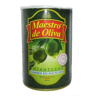 Maestro de Oliva, 420 g, olives, pitted, Giant