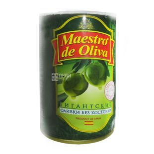 Maestro de Oliva, 420 г, оливки, без косточки, Гигантские
