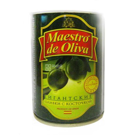 Maestro de Oliva, 420 г, оливки, с косточкой, Гигантские