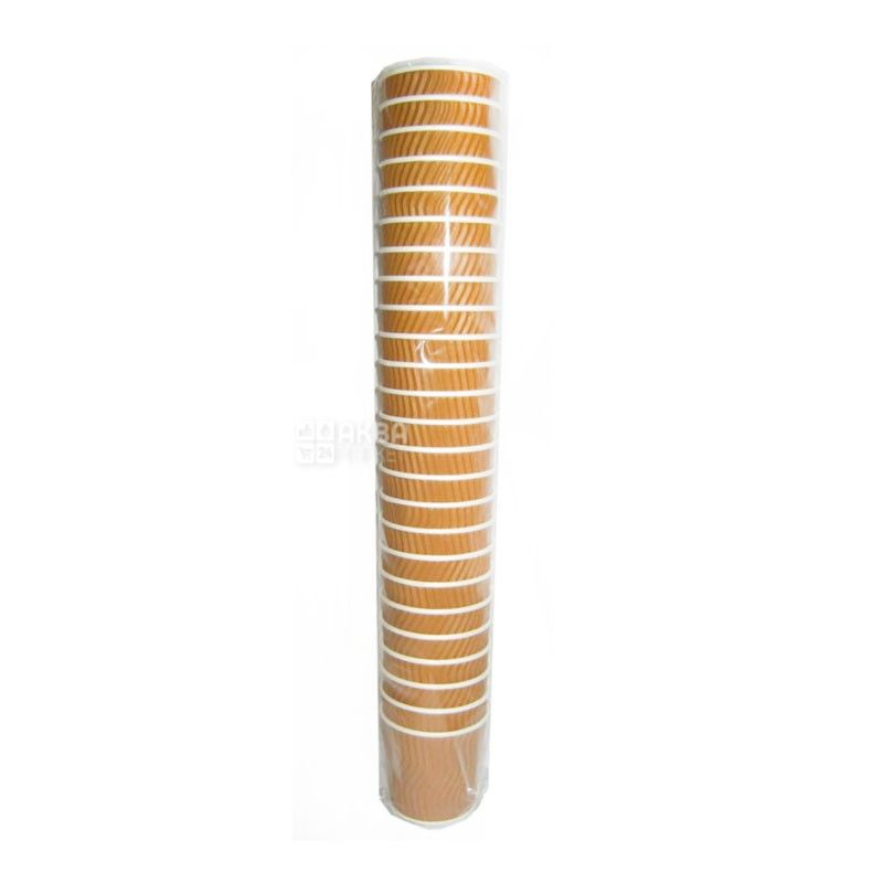 Промтус Бумажный стакан гофрированный коричневый 110 мл, 25 шт, D60
