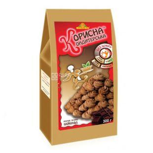 Корисна Кондитерська, 300 г, песочное печенье, со стевией, Шоколад