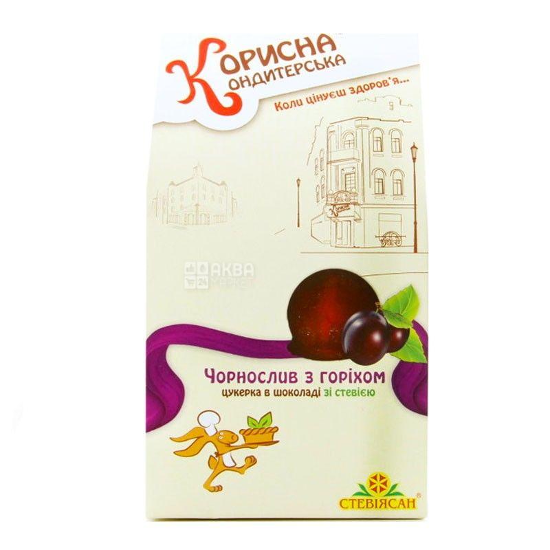 Корисна Кондитерська, 150 г, конфеты шоколадные, со стевией, Чернослив с орехом