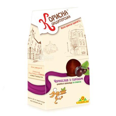 Корисна Кондитерська, 150 г, цукерки шоколадні, зі стевією, Чорнослив з горіхом