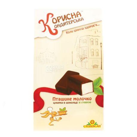 Корисна Кондитерська, 150 г, конфеты шоколадные, со стевией, Птичье молоко