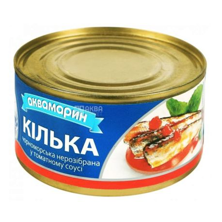 Аквамарин, 230 г, кілька в томатному соусі, чорноморська, нерозбірна