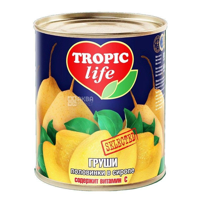Tropic Life, 850 мл, груши, половинки, в сиропе