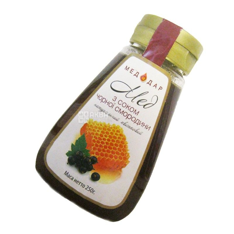 Медодар, 250 г, мед, цветочный с соком черной смородины, пэт