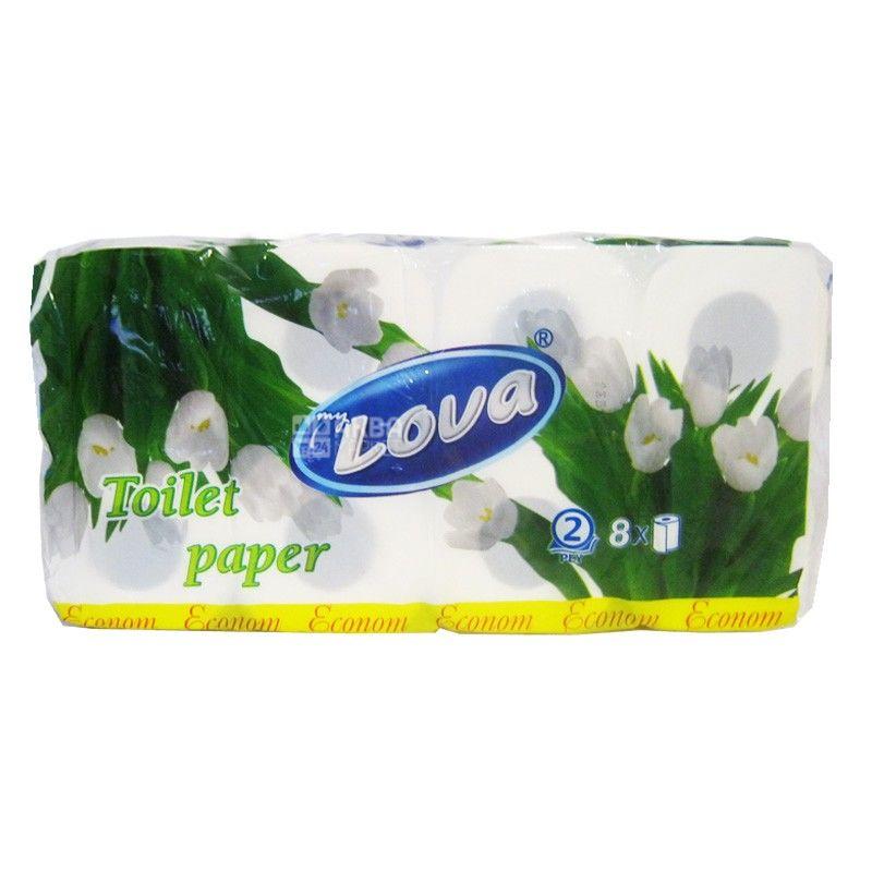 My Lova, 8 рулонів, туалетний папір, Економ, м/у