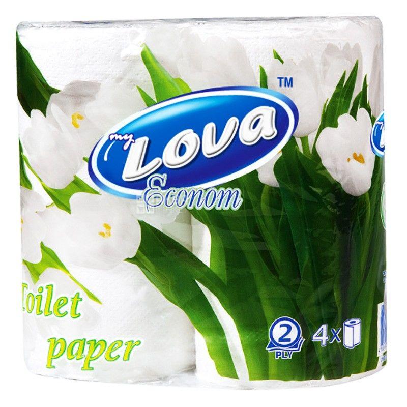 My Lova, 4 рулона, Туалетная бумага, Эконом, м/у