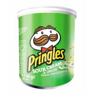 Pringles, 40 г, Чипси картопляні, Sour cream & onion, тубус