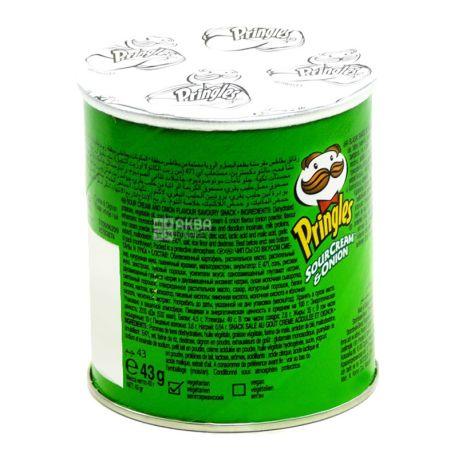 Pringles, 40 г, Чипсы картофельные, Sour cream & onion, тубус