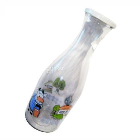 Everglass, 1 л, бутылка для молока, Бурёнка, стекло
