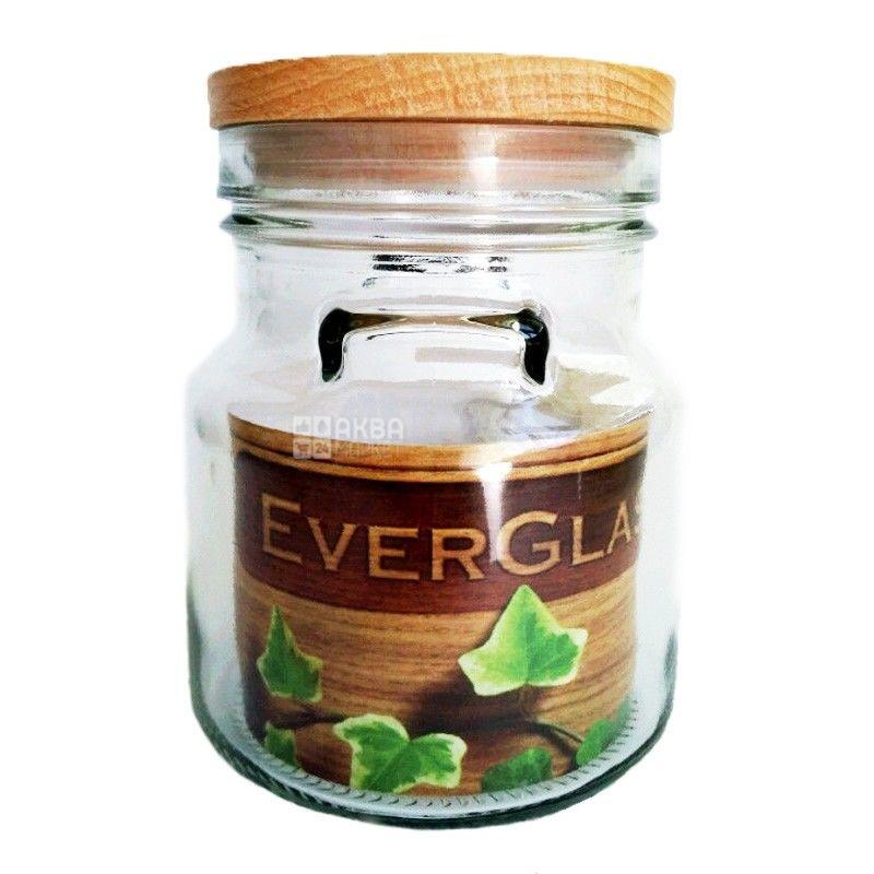 Everglass, 0,9 л, банка, З дерев'яною кришкою, скло