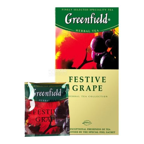Greenfield, Festive Grape, 25 пак., Чай Гринфилд, Виноград, травяной
