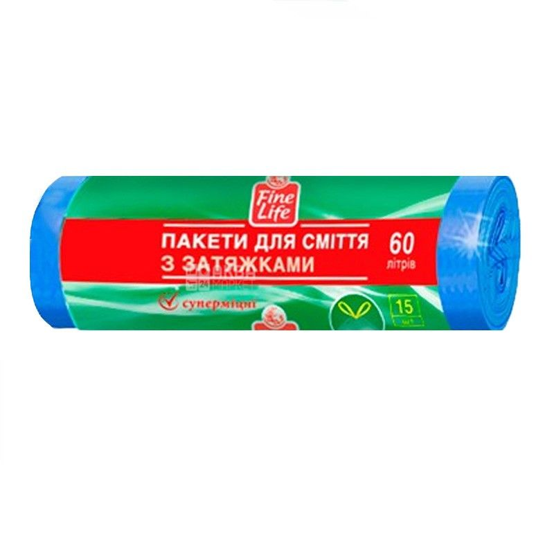 Fine Life, 15 pcs., 60 l, garbage bags, With puffs